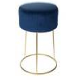 Taburete con Asiento de Terciopelo Azul 35x39 cm - DIJK