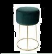 Taburete con Asiento de Terciopelo Verde 35x39 cm - DIJK