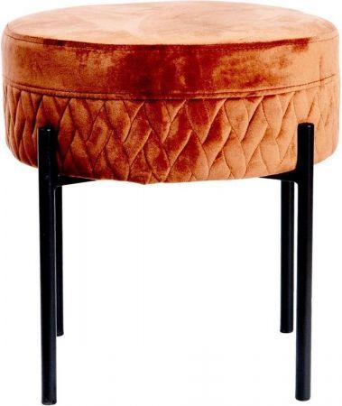Taburete con Asiento de Teciopelo Rojo 44x44x44 - DIJK