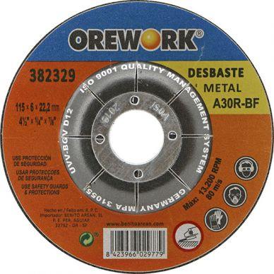 Disco profesional desbarbar metal OREWORK 115x6x22 mm