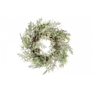 Corona Nevada con Piñas Navidad Blanco